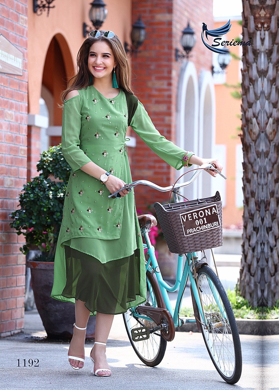 Embroidered Georgette Light Green Long Kurti