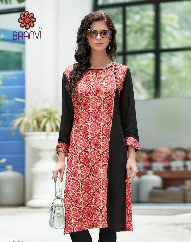 Latest Designer Long Kurti Black and Red in Cotton