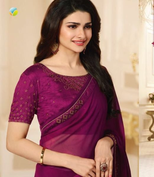 Shahi Saree in Prachi Desai Style in Redviolet Colour