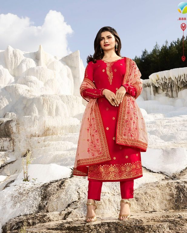 d84cbc06169 Hot Red Heavy Embroidered Punjabi Salwar Suits with Heavy Dupatta ...